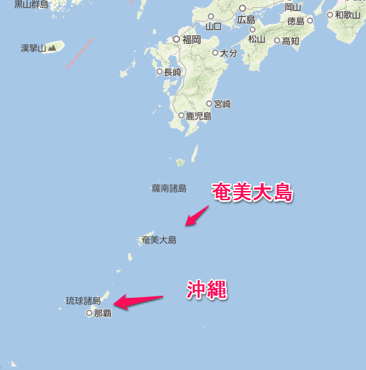 沖縄と奄美大島の場所