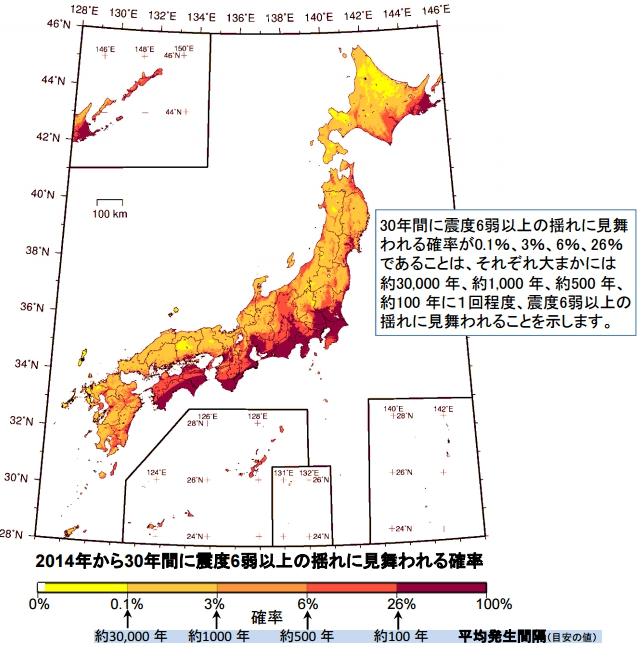 震度6以上の地震が起こる確率